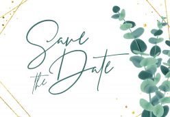 Golden green save the date kaart liggend enkel
