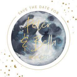 Folie save the date kaart to the moon vierkant enkel