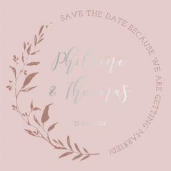 Folie save the date kaart blush botanics vierkant enkel