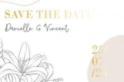 Folie save the date kaart lily romance dubbel