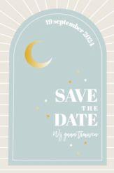 Folie save the date kaart desert romance staand enkel