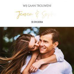 Folie trouwkaart modern vierkant enkel