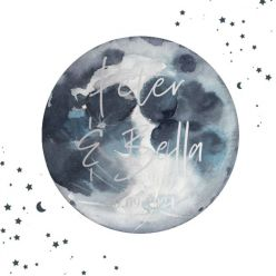 Folie trouwkaart to the moon vierkant dubbel
