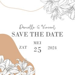 Lily romance save the date kaart vierkant dubbel