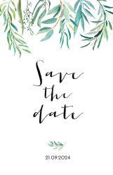 Lovely eucalyptus save the date kaart staand dubbel