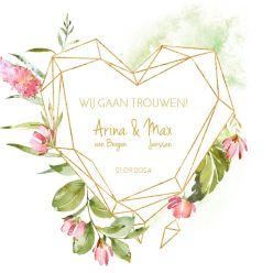 Geometric floral trouwkaart vierkant dubbel