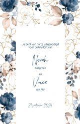 Elegance breeze trouwkaart staand dubbel bloemen