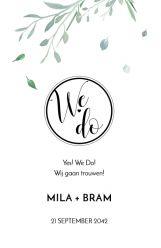 Modern elegance trouwkaart staand dubbel we do