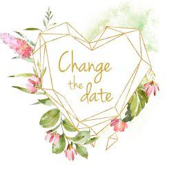 Geometric floral change the date kaart vierkant enkel