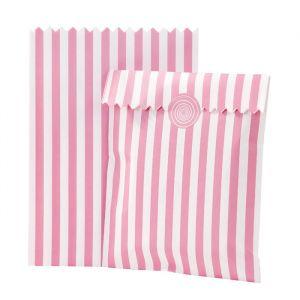 Uitdeelzakjes stripes Roze-wit (10st) Talking Tables