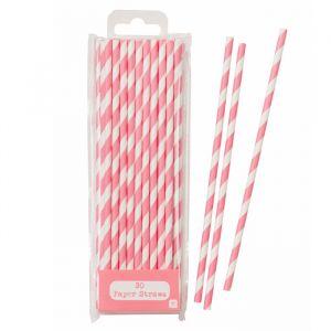 Papieren Rietjes Stripes roze (30st) Talking Tables