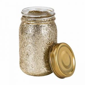 Mason jar glitter goud Talking Tables