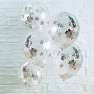 Confetti ballonnen stars zilver (5st) Silver Metallic Star Ginger Ray