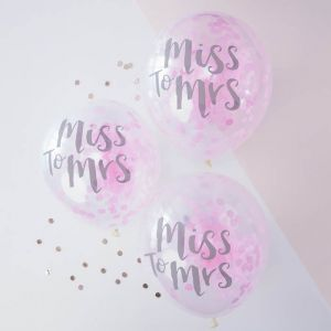 Confetti ballonnen Miss to Mrs (5st) Team Bride