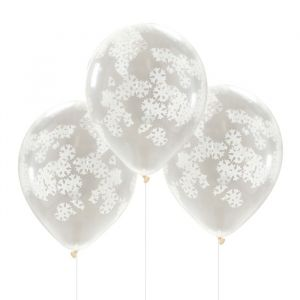 Confetti ballonnen sneeuwvlokken (5st) Rustic Christmas Ginger Ray
