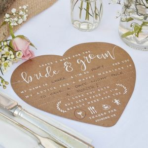 Wedding wishes kraft hart (12st) Rustic Country