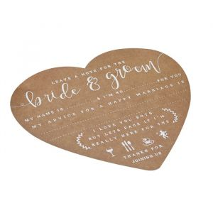 Wedding wishes kraft hart (10st) Rustic Country Ginger Ray
