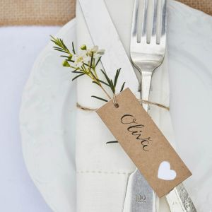 Labels hartje kraft-wit (8st) Rustic Country