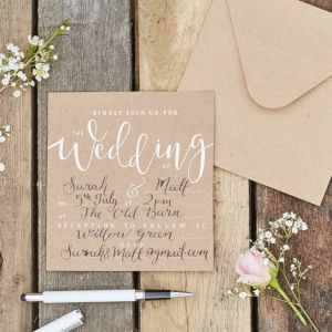 Bruiloft uitnodigingen kraft (10st) Rustic Country