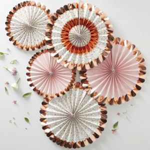 Paperfans bloemen roségoud (5st) Ditsy Floral Ginger Ray
