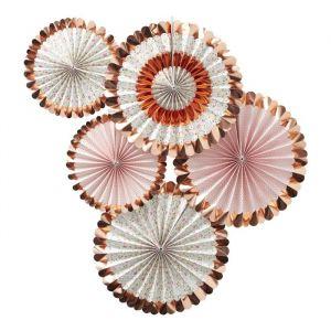 Paperfans bloemen roségoud (5st) Ditsy Floral Ginger Ray