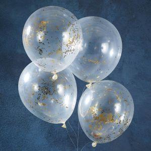 Confetti ballonnen glitter goud (5st) Gold Christmas