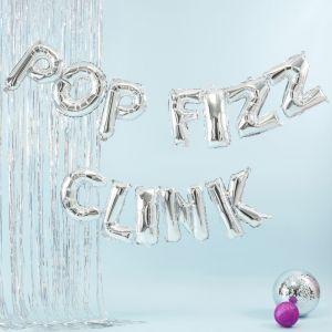 Folieballon slinger Pop Fizz Clink zilver Jolly Vibes