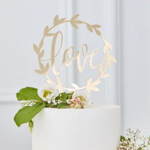 Acryl taarttopper Love Gold Wedding Ginger Ray