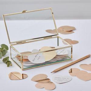 Alternatief gastenboek glazen kistje Gold Wedding Ginger Ray