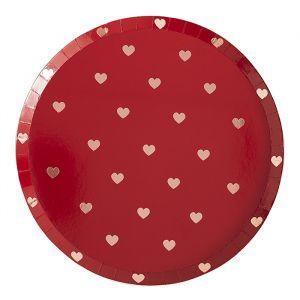 Bordjes rood met rosé hartjes (8st) Ginger Ray