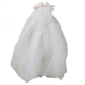 Haarband met sluier Bride to Be Blush Hen Ginger Ray