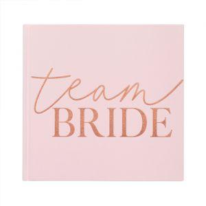 Gastenboek velvet roze Team Bride Blush Hen Ginger Ray