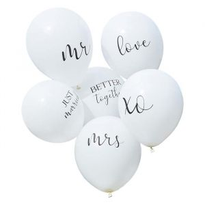 Ballonnen wit met tekst Botanical Wedding Ginger Ray