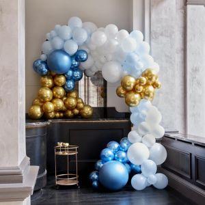 Ballonnenboog groot blauw & chrome goud Ginger Ray