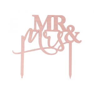 Taarttopper Mr & Mrs roségoud A Touch of Pampas Ginger Ray