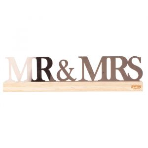 Tafeldecoratie Mr & Mrs acryl A Touch of Pampas Ginger Ray