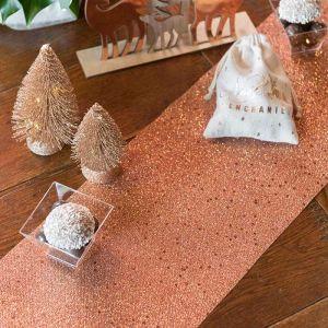 Tafelloper glitter roségoud (5m)