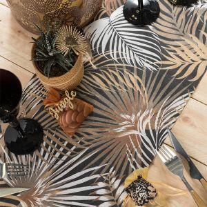 Tafelloper tropische bladeren zwart