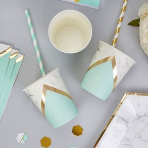 Bekertjes (8st) Colour Block Marble Mint