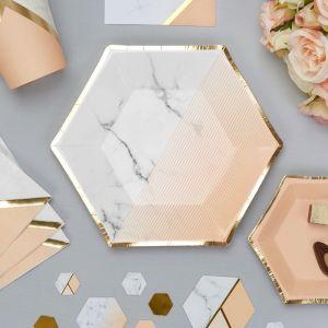 Gebaksbordjes (8st) Colour Block Marble Peach
