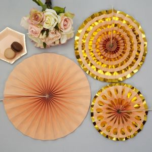 Paper fans (3st) Colour Block Marble Peach