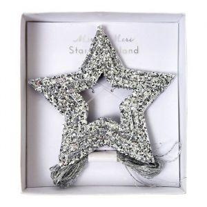 Glitter ster minislinger zilver (4m) Meri Meri