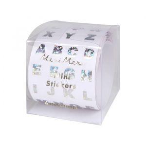 Stickers alfabet zilver op rol (500st) Meri Meri
