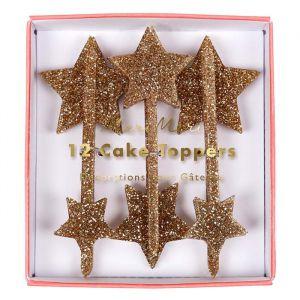 Cupcake prikkers sterren glitter goud