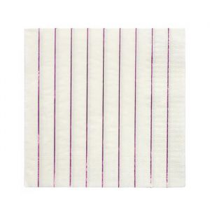Gebaksservetten Metallic Pink Stripe (16st) Meri Meri