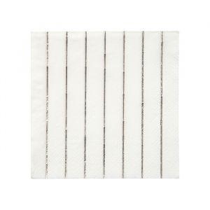 Gebaksservetten Silver Stripe (16st) Basics Meri Meri