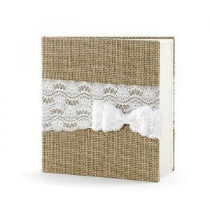 Gastenboek jute met strik