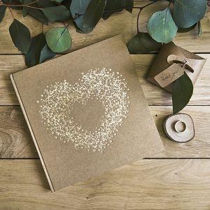 Gastenboek met hart kraft-goud