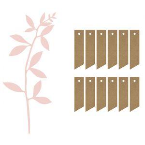 Labels met roze takje (6st) Rustic Collection
