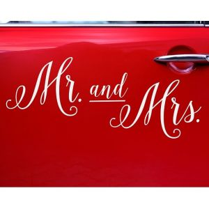 Autosticker Mr and Mrs wit